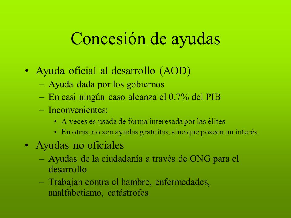 Concesión de ayudas Ayuda oficial al desarrollo (AOD)
