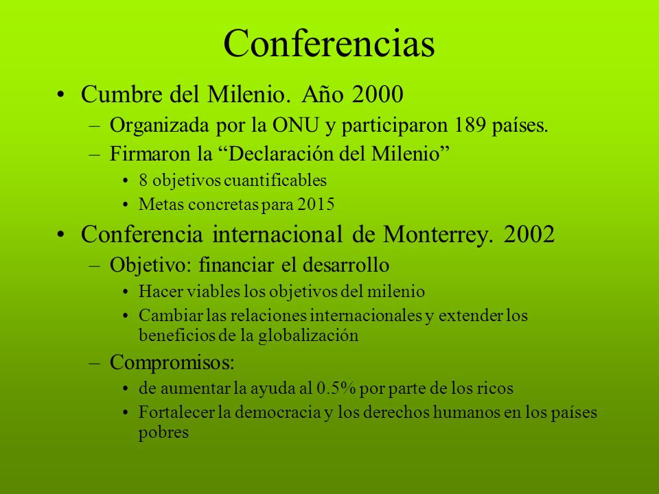 Conferencias Cumbre del Milenio. Año 2000