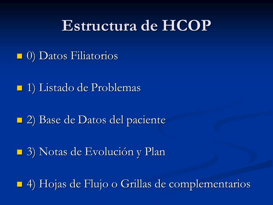 Estructura de HCOP 0) Datos Filiatorios 1) Listado de Problemas