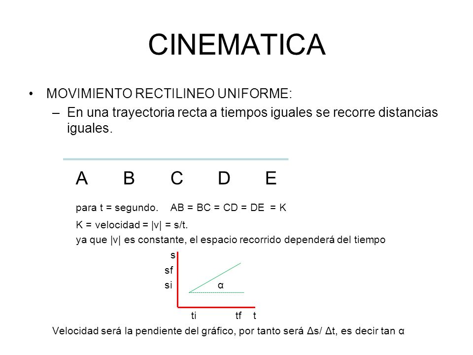 CINEMATICA A B C D E MOVIMIENTO RECTILINEO UNIFORME: