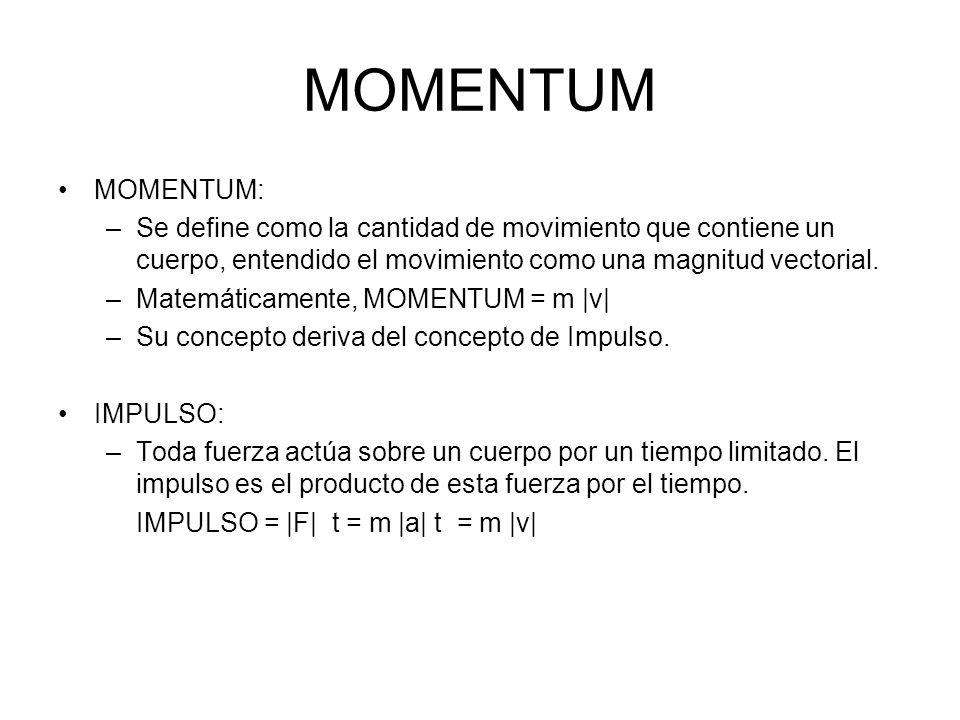 MOMENTUM MOMENTUM: Se define como la cantidad de movimiento que contiene un cuerpo, entendido el movimiento como una magnitud vectorial.