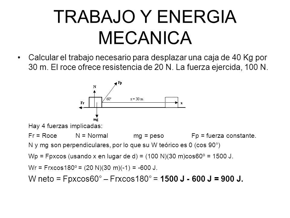TRABAJO Y ENERGIA MECANICA