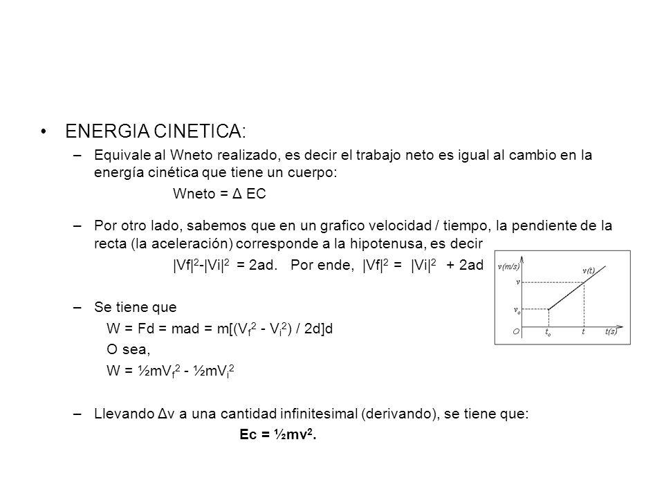 ENERGIA CINETICA:Equivale al Wneto realizado, es decir el trabajo neto es igual al cambio en la energía cinética que tiene un cuerpo: