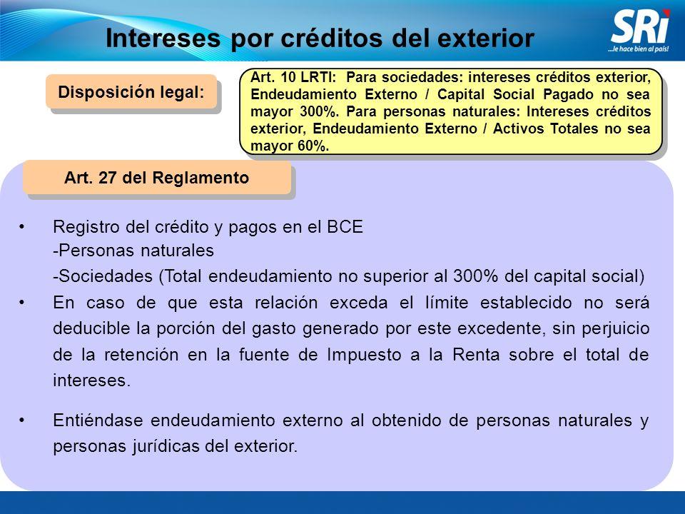 Intereses por créditos del exterior