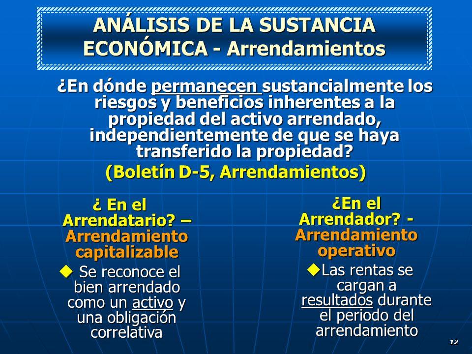 ANÁLISIS DE LA SUSTANCIA ECONÓMICA - Arrendamientos