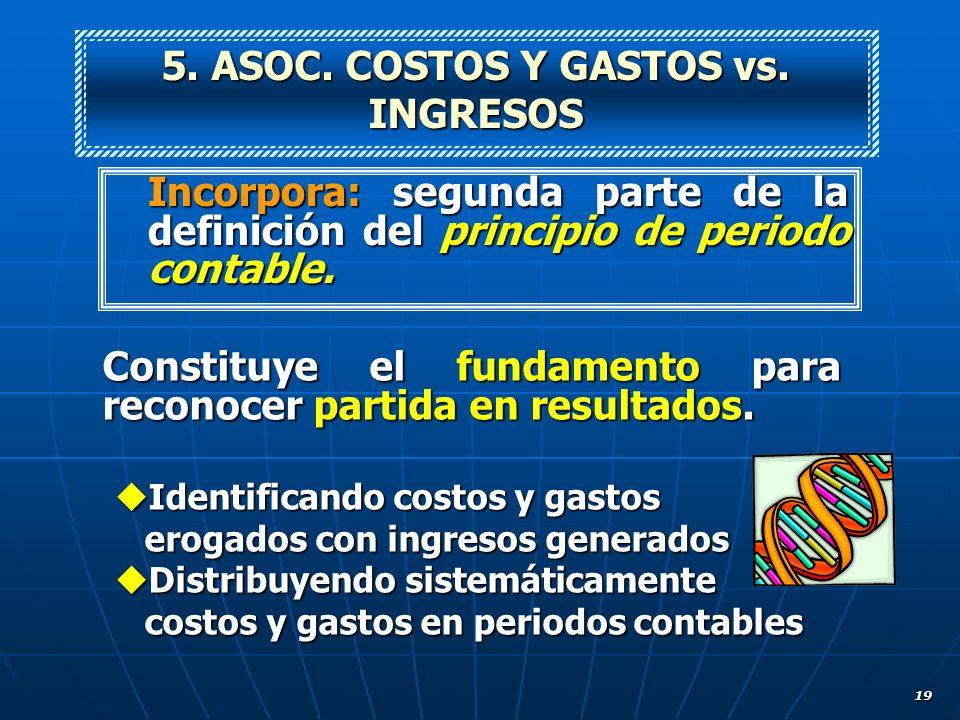 5. ASOC. COSTOS Y GASTOS vs. INGRESOS