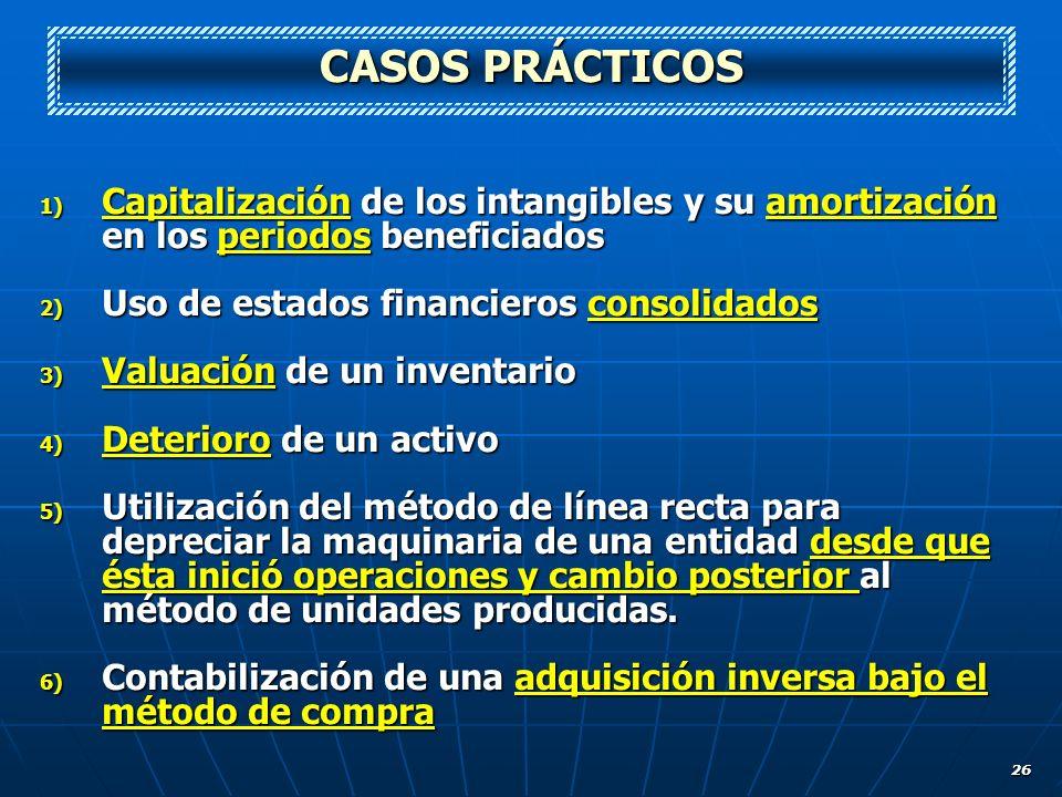 CASOS PRÁCTICOS Capitalización de los intangibles y su amortización en los periodos beneficiados. Uso de estados financieros consolidados.
