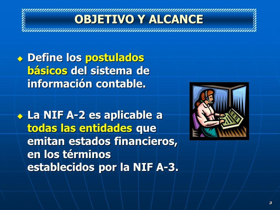 OBJETIVO Y ALCANCE Define los postulados básicos del sistema de información contable.