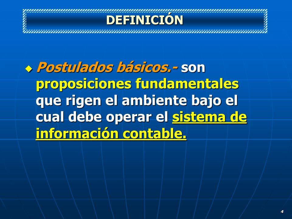 DEFINICIÓNPostulados básicos.- son proposiciones fundamentales que rigen el ambiente bajo el cual debe operar el sistema de información contable.