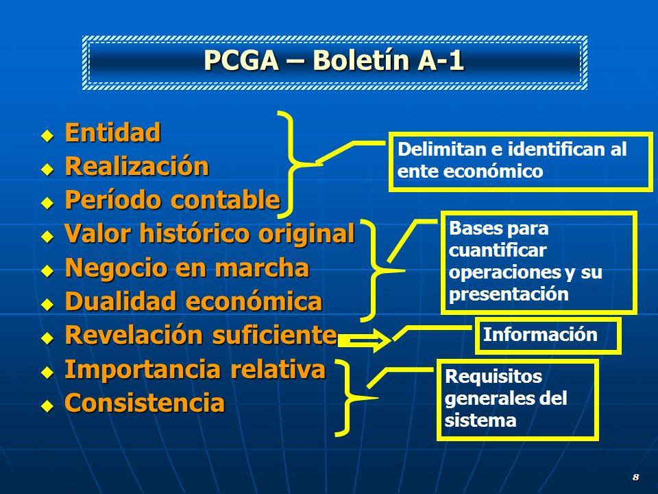 PCGA – Boletín A-1 Entidad Realización Período contable