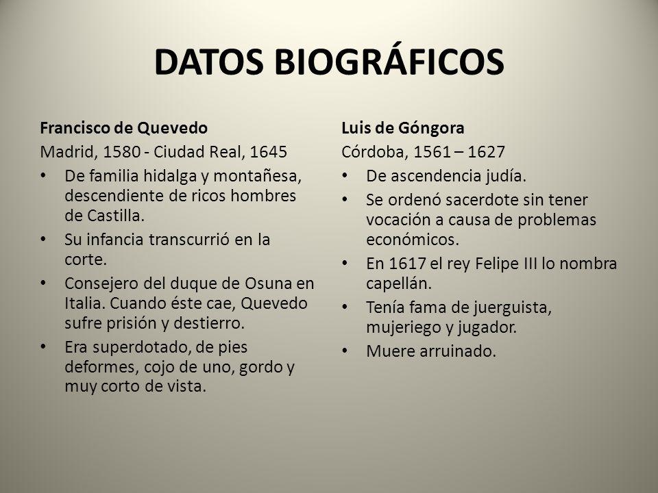 DATOS BIOGRÁFICOS Francisco de Quevedo