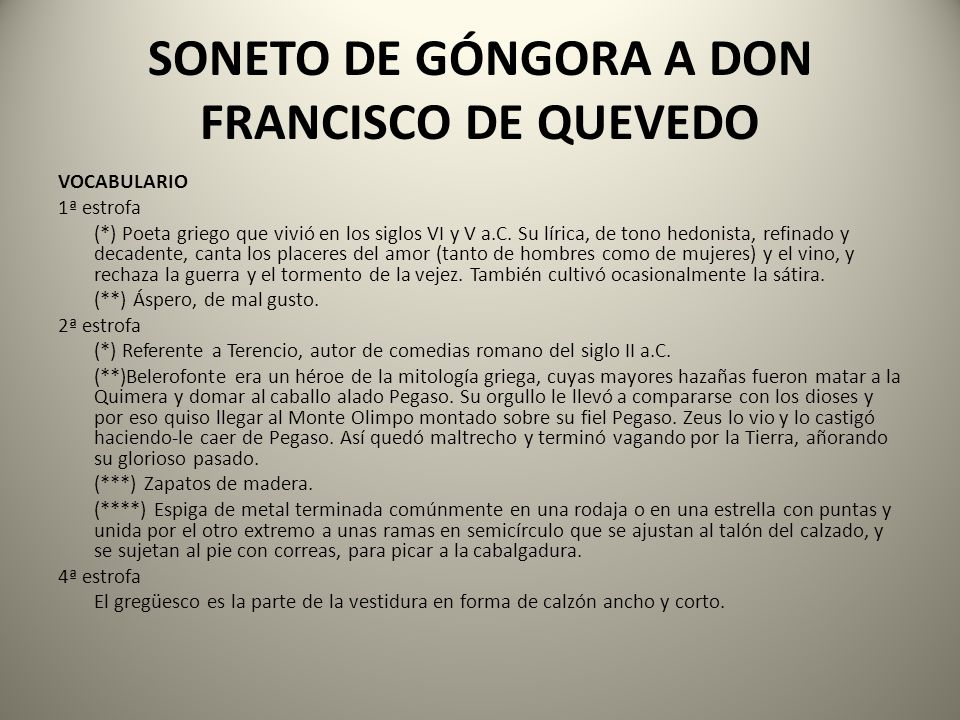 SONETO DE GÓNGORA A DON FRANCISCO DE QUEVEDO