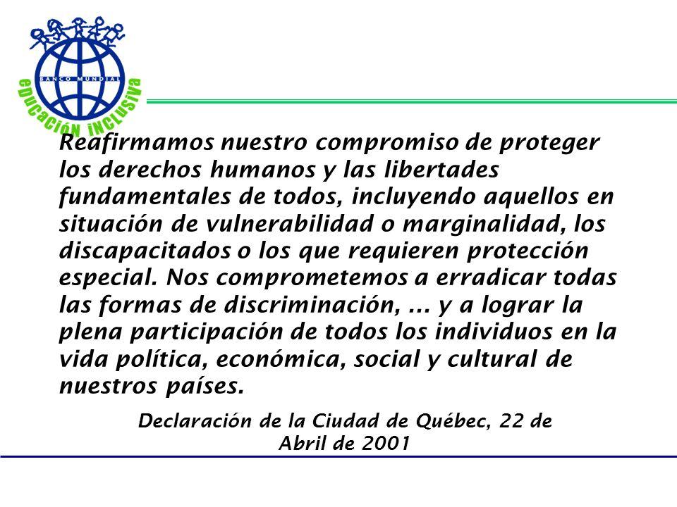 Declaración de la Ciudad de Québec, 22 de Abril de 2001