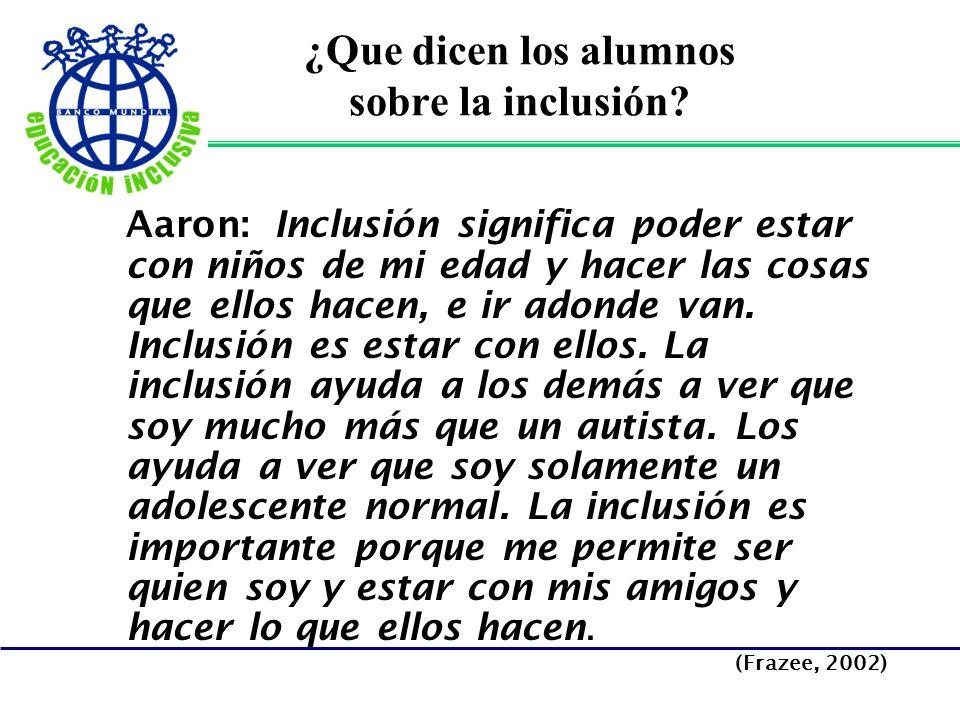 ¿Que dicen los alumnos sobre la inclusión