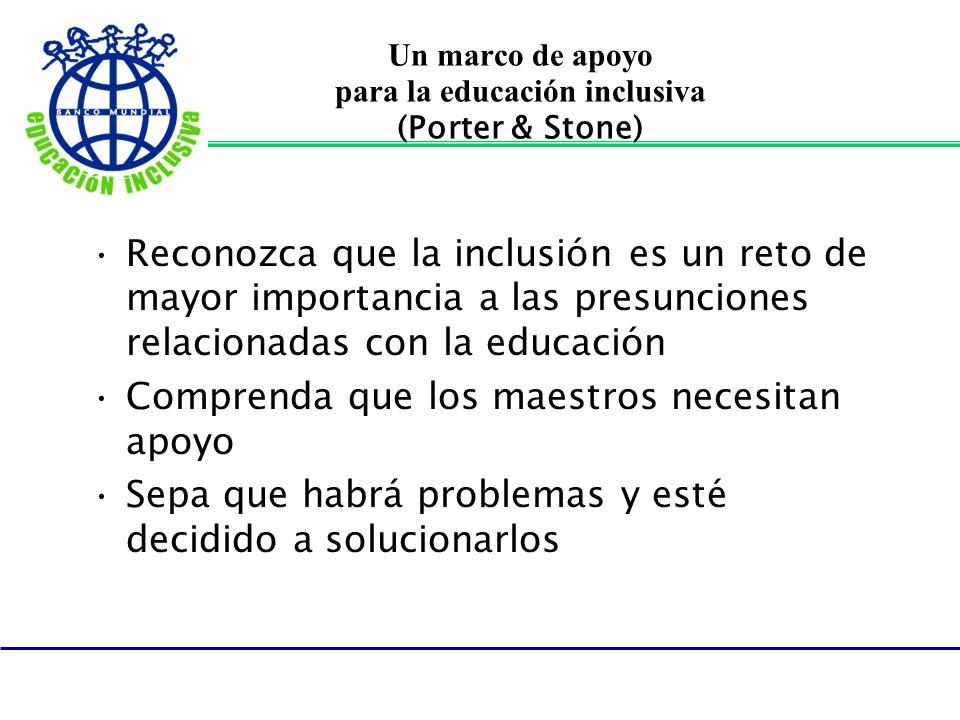 Un marco de apoyo para la educación inclusiva (Porter & Stone)
