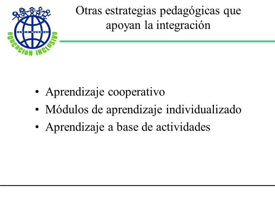 Otras estrategias pedagógicas que apoyan la integración