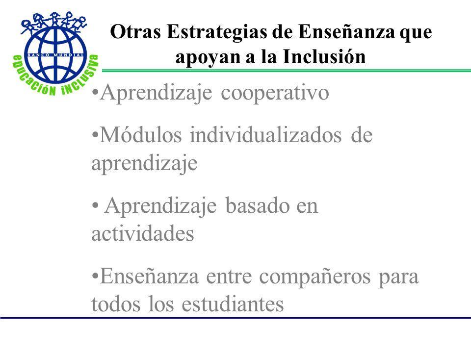 Otras Estrategias de Enseñanza que apoyan a la Inclusión
