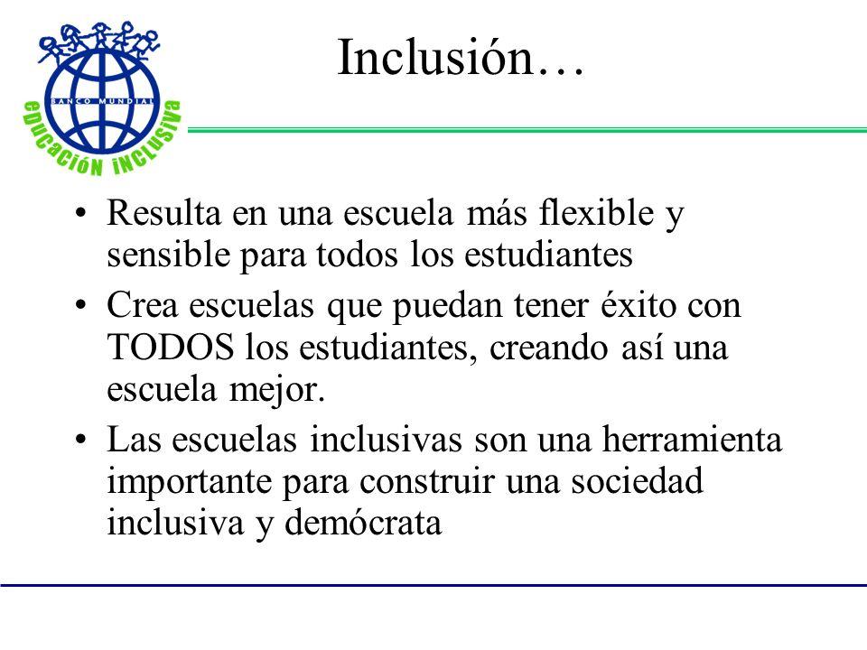 Inclusión… Resulta en una escuela más flexible y sensible para todos los estudiantes.