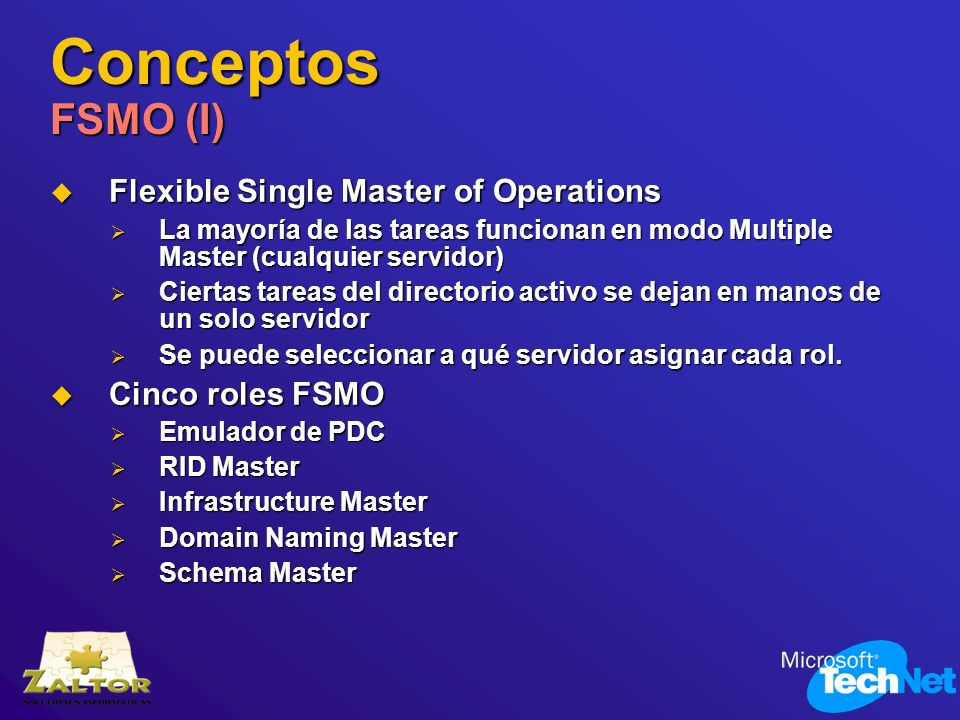 Conceptos FSMO (I) Flexible Single Master of Operations