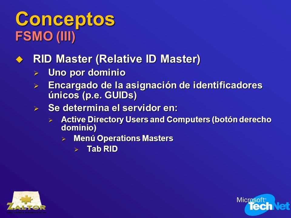 Conceptos FSMO (III) RID Master (Relative ID Master) Uno por dominio