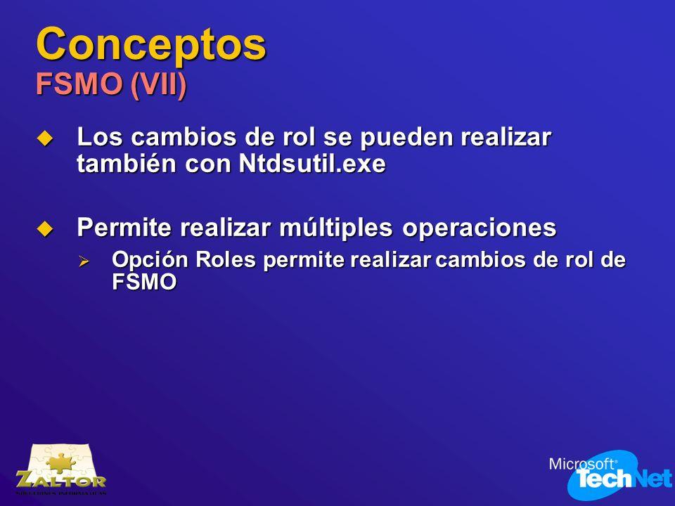 Conceptos FSMO (VII)Los cambios de rol se pueden realizar también con Ntdsutil.exe. Permite realizar múltiples operaciones.