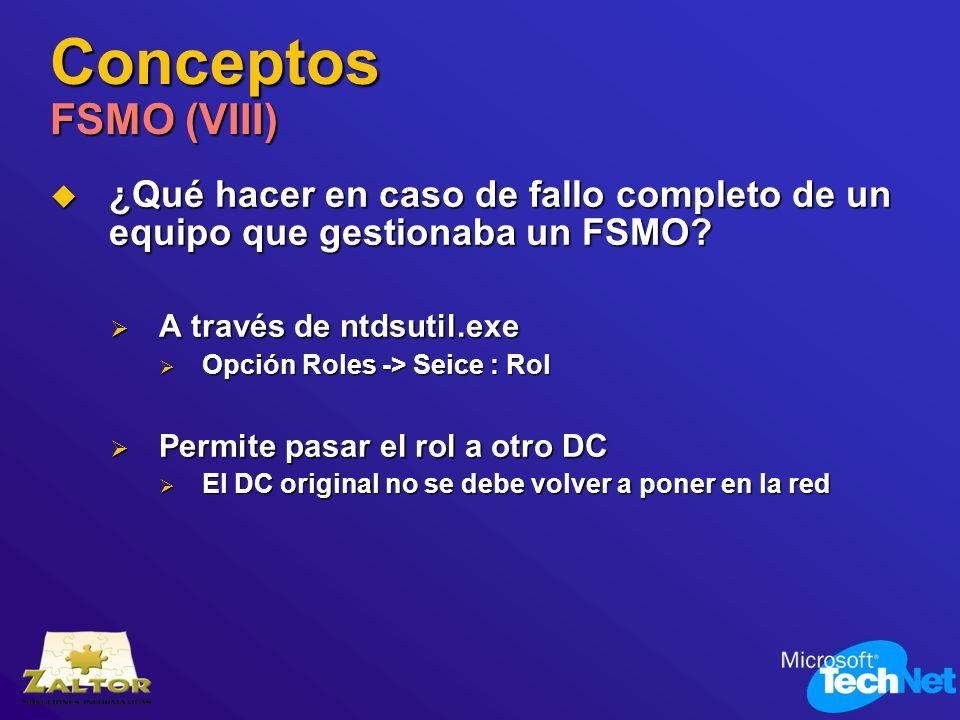 Conceptos FSMO (VIII) ¿Qué hacer en caso de fallo completo de un equipo que gestionaba un FSMO A través de ntdsutil.exe.