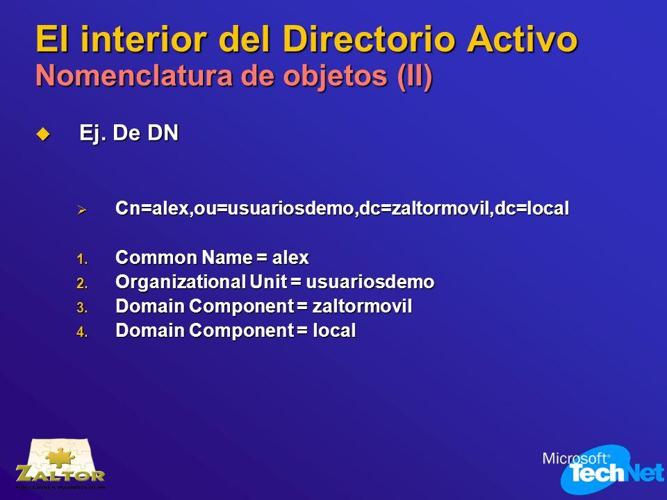 El interior del Directorio Activo Nomenclatura de objetos (II)