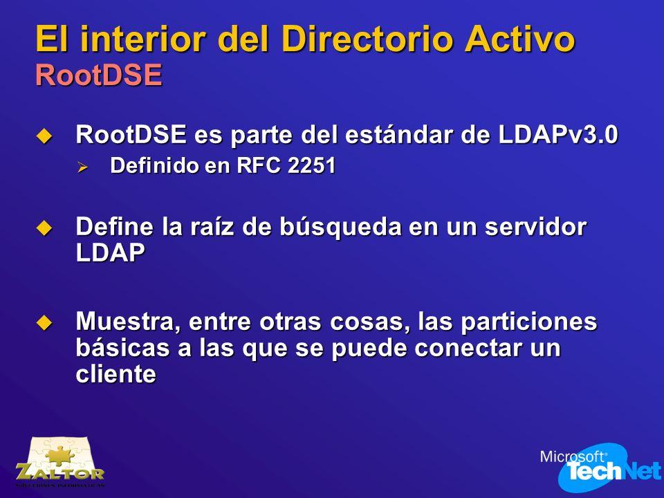 El interior del Directorio Activo RootDSE