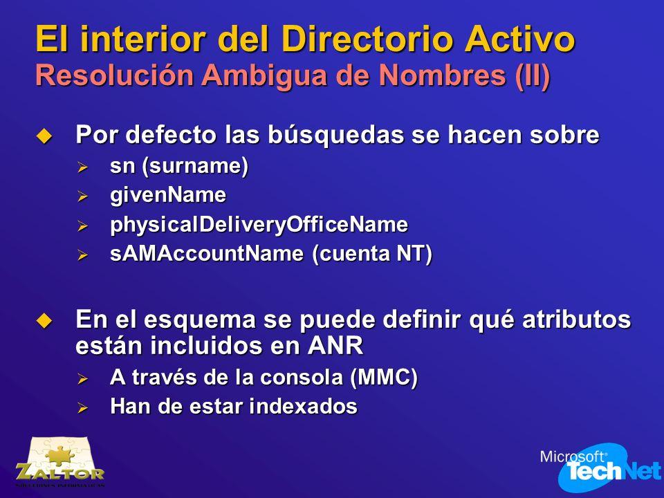 El interior del Directorio Activo Resolución Ambigua de Nombres (II)
