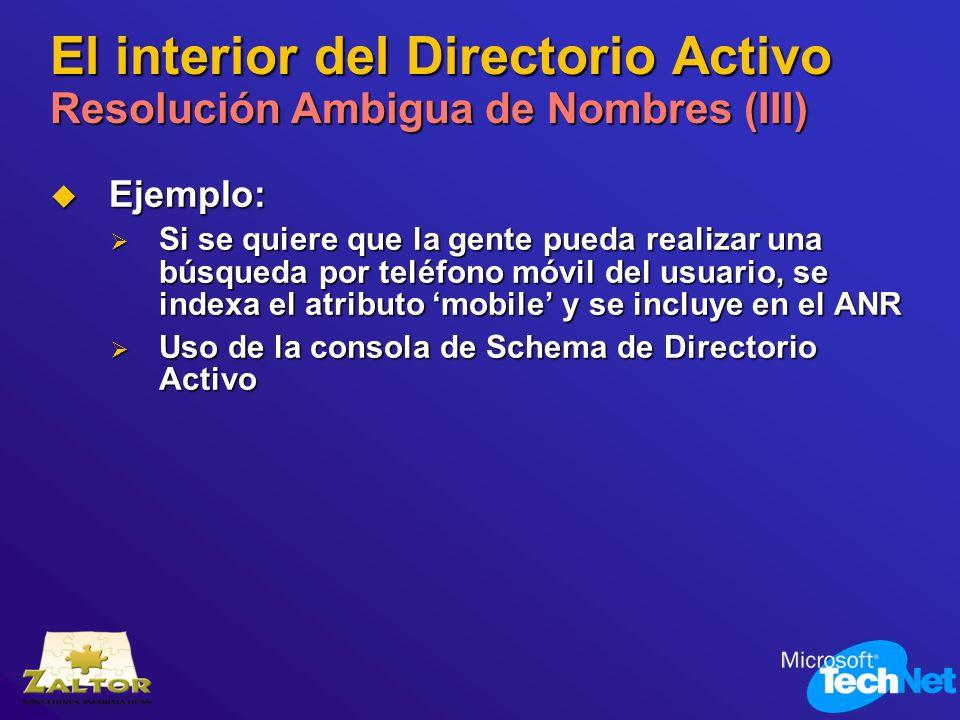 El interior del Directorio Activo Resolución Ambigua de Nombres (III)