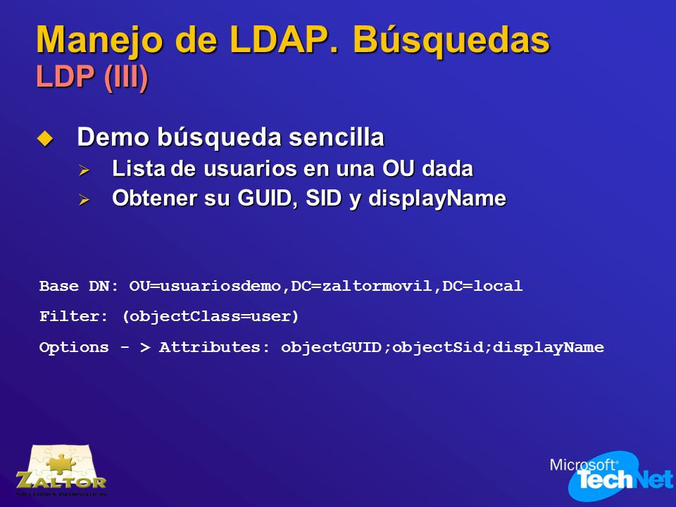 Manejo de LDAP. Búsquedas LDP (III)