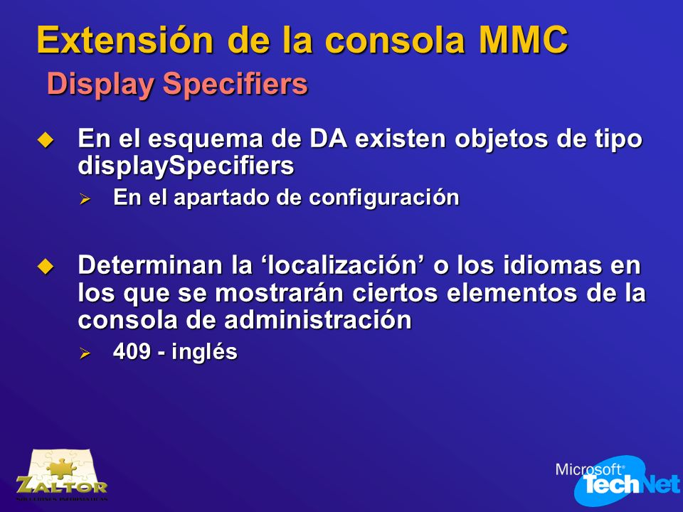 Extensión de la consola MMC Display Specifiers