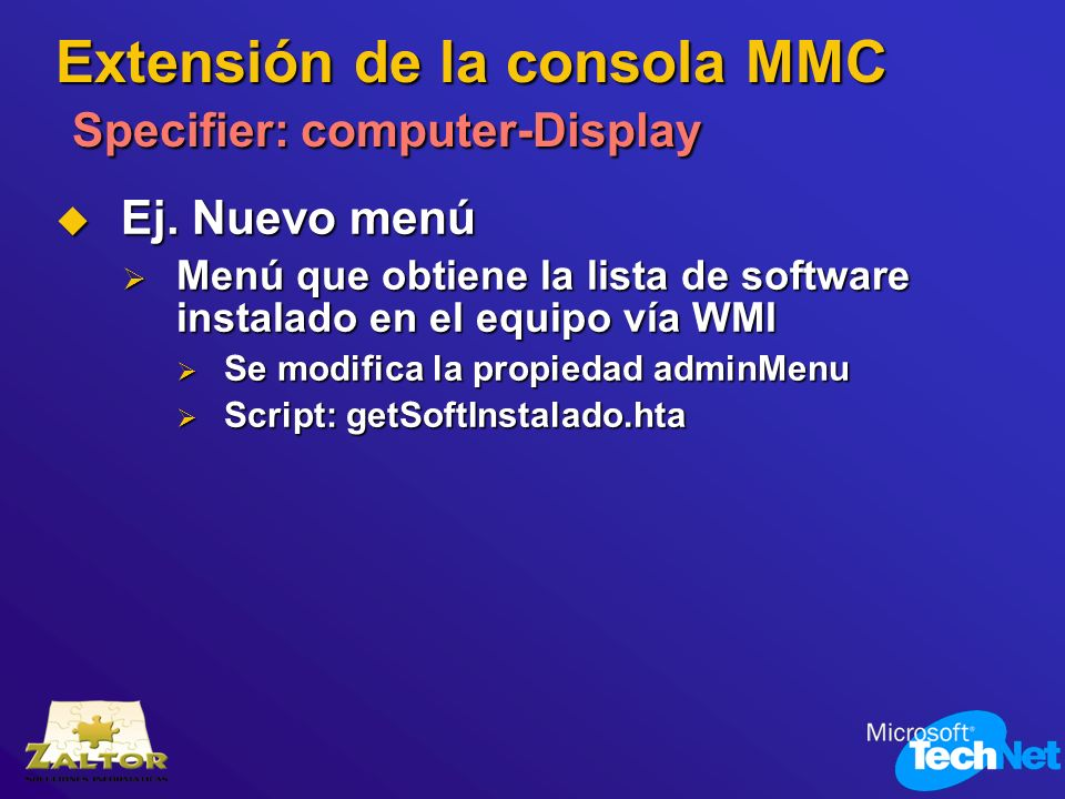 Extensión de la consola MMC Specifier: computer-Display