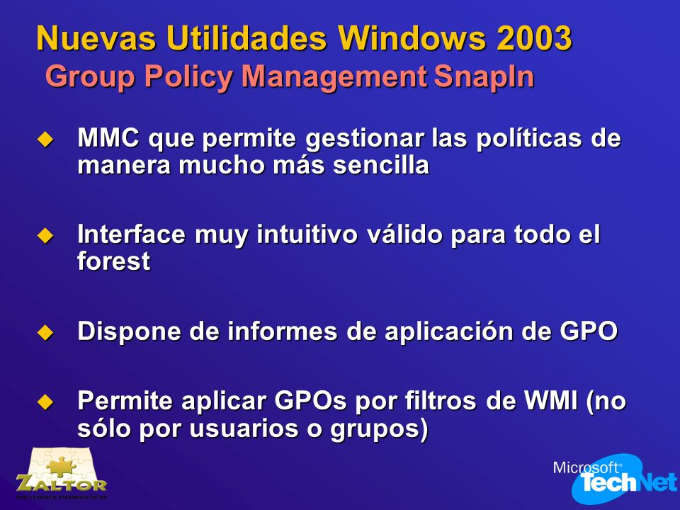 Nuevas Utilidades Windows 2003 Group Policy Management SnapIn
