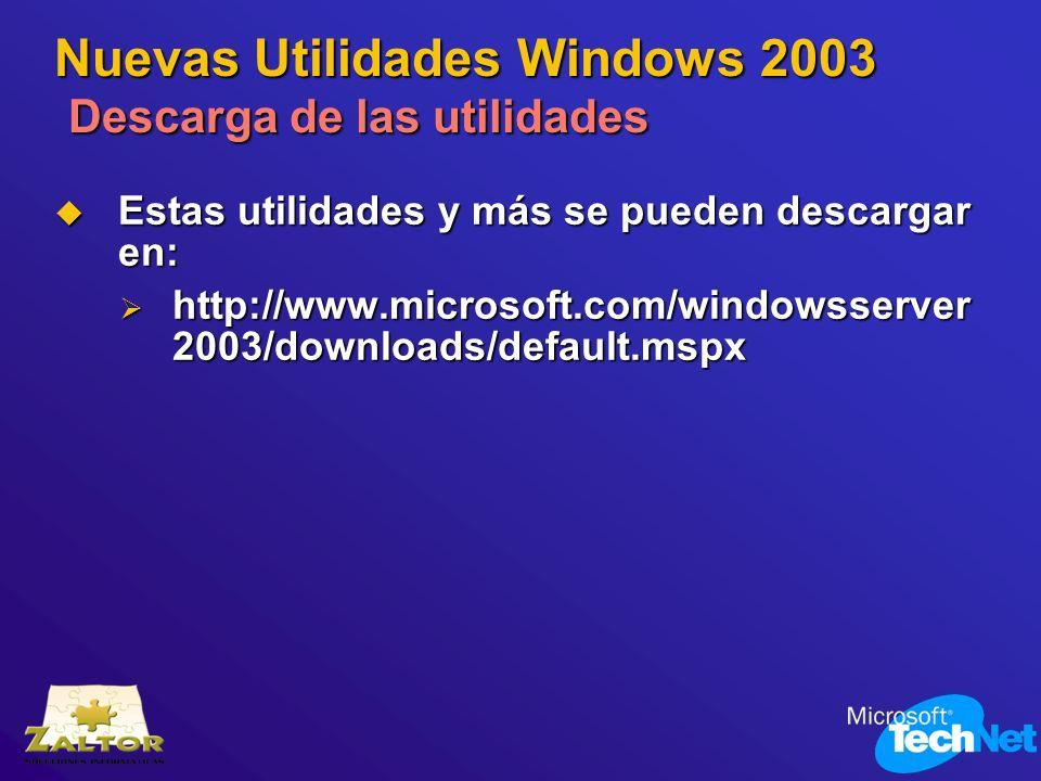 Nuevas Utilidades Windows 2003 Descarga de las utilidades