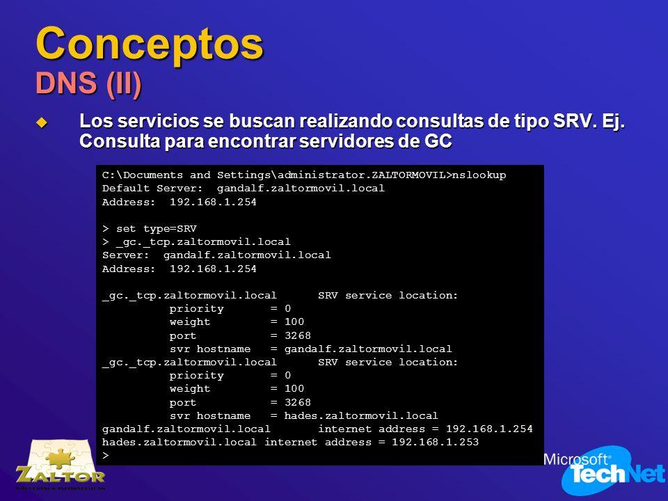 Conceptos DNS (II) Los servicios se buscan realizando consultas de tipo SRV. Ej. Consulta para encontrar servidores de GC.