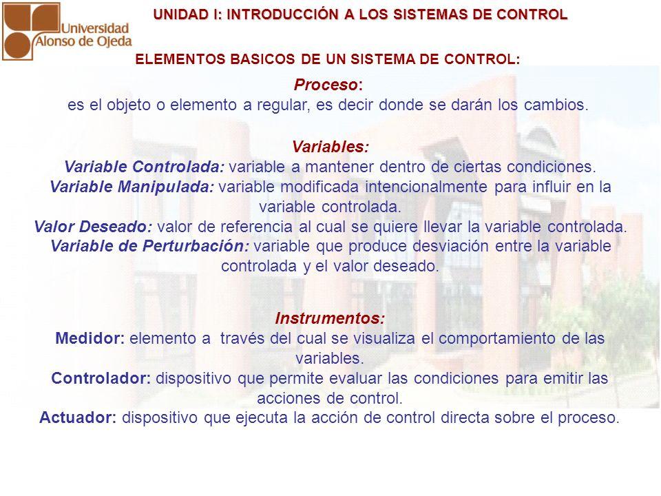 ELEMENTOS BASICOS DE UN SISTEMA DE CONTROL: