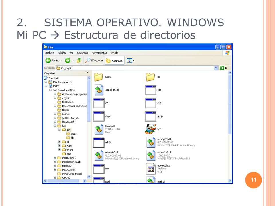 2. SISTEMA OPERATIVO. WINDOWS Mi PC  Estructura de directorios