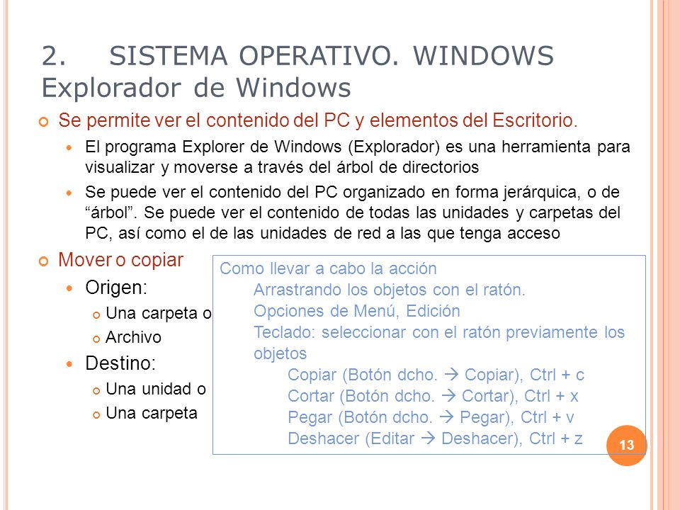2. SISTEMA OPERATIVO. WINDOWS Explorador de Windows