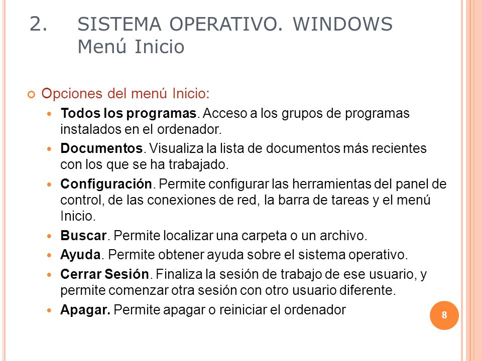 2. SISTEMA OPERATIVO. WINDOWS Menú Inicio