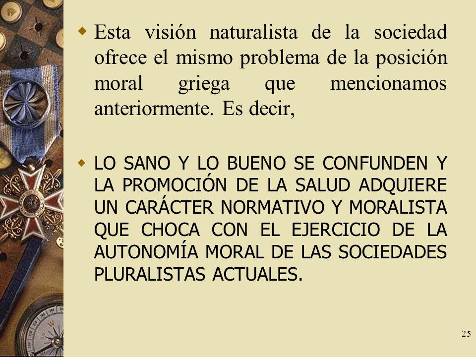 Esta visión naturalista de la sociedad ofrece el mismo problema de la posición moral griega que mencionamos anteriormente. Es decir,