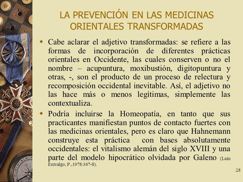 LA PREVENCIÓN EN LAS MEDICINAS ORIENTALES TRANSFORMADAS