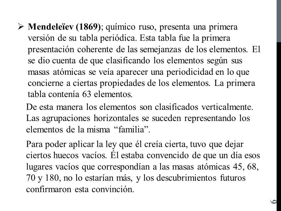 mendeleev 1869 qumico ruso presenta una primera versin de su tabla peridica - Tabla Periodica De Los Elementos Quimicos Por Familias