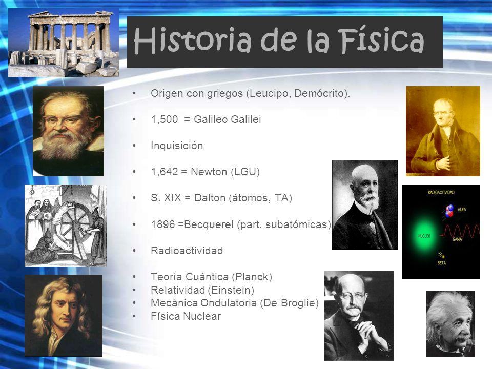 Historia de la Física Origen con griegos (Leucipo, Demócrito).