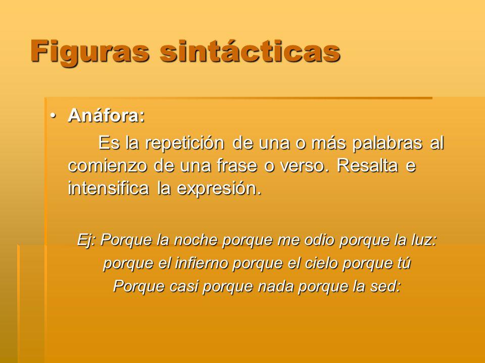 Figuras sintácticas Anáfora: