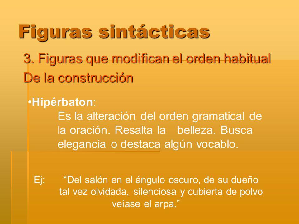 Figuras sintácticas 3. Figuras que modifican el orden habitual