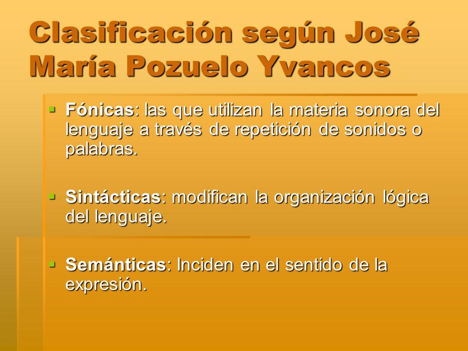 Clasificación según José María Pozuelo Yvancos
