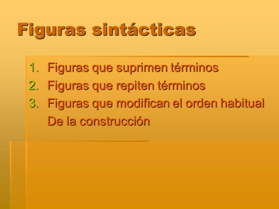 Figuras sintácticas Figuras que suprimen términos