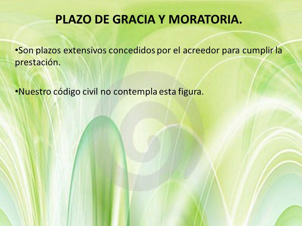 PLAZO DE GRACIA Y MORATORIA.