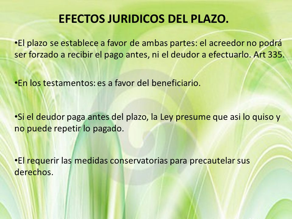 EFECTOS JURIDICOS DEL PLAZO.